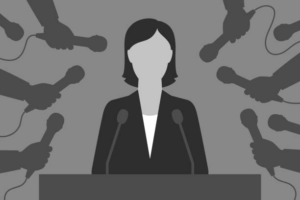 Woman-speaker and reporters. Interview for the media Woman is behind tribune. Hands with microphones are around. Speaker and reporters. Interview for the media spokesperson stock illustrations