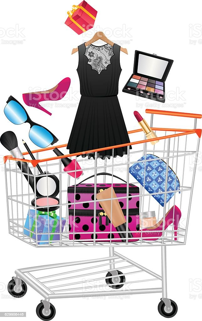 Women Accessories In Shopping Trolley - Lizenzfrei Accessoires Vektorgrafik