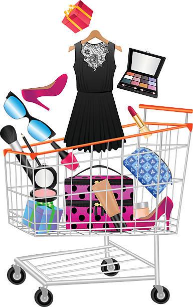 women accessories in shopping trolley - extravagant schutzbrille stock-grafiken, -clipart, -cartoons und -symbole