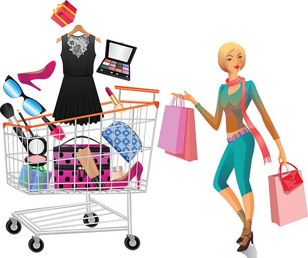 women accessories in shopping trolley with shopping lady - extravagant schutzbrille stock-grafiken, -clipart, -cartoons und -symbole