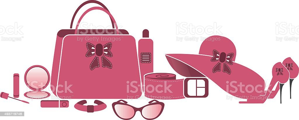 Women accessories vector art illustration