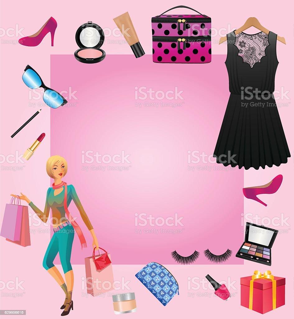 Women Accessories With Shopping Lady - Lizenzfrei Accessoires Vektorgrafik
