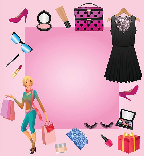 women accessories with shopping lady - extravagant schutzbrille stock-grafiken, -clipart, -cartoons und -symbole
