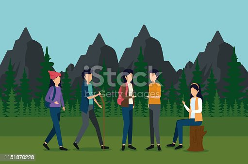 women and man waliking with backpack and stick in the landscape to tourism adventure vector illustration