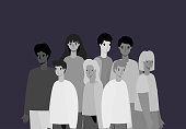 Women and men avatars in gray colors design, Person people and human theme Vector illustration