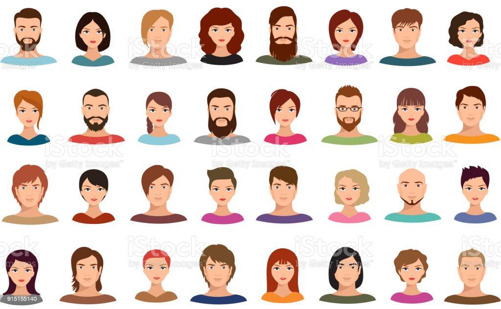 Kvinnor och män affärsmän team vektor avatarer manliga och kvinnliga profil porträtt isolerade - Royaltyfri Affärsman vektorgrafik