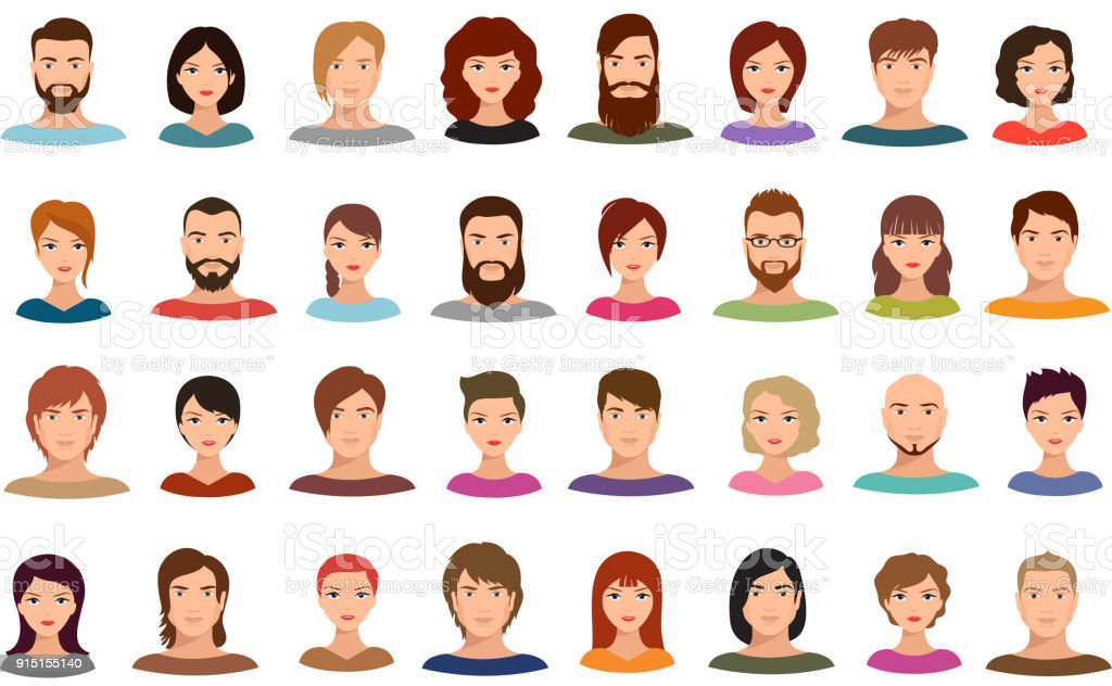 Women and men business people team vector avatars male and female profile portraits isolated vector art illustration