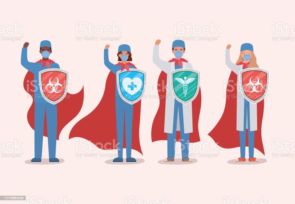 Ilustración de Mujeres Y Hombres Médicos Héroes Con Capa Y Escudo Contra El Diseño De Vectores De Virus Ncov 2019 y más Vectores Libres de Derechos de 2019 - iStock
