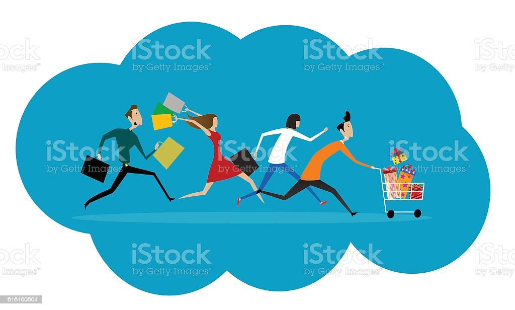 Women and men hurry run to sale. vector art illustration