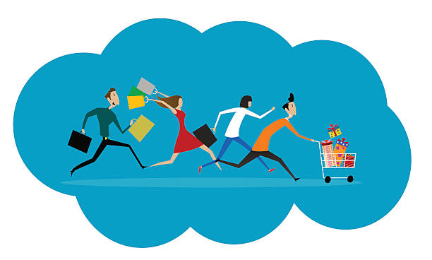 Women and men hurry run to sale. vector art illustration