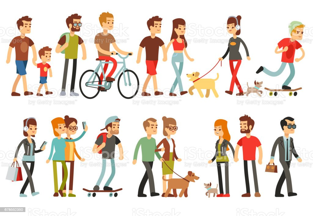 Women and men in various lifestyles. Cartoon characters vector set vector art illustration