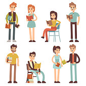 Women and men reading books. People readers vector characters set. Reader male with book, character woman with literature in hands illustration