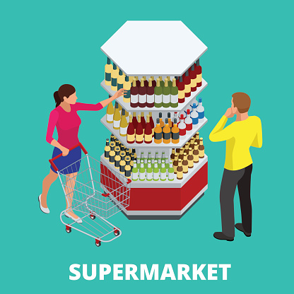 Women and men shopping alcohol in supermarket. Shelves with alcohol bottles. Choosing wine for dinner. Happy young couple choosing wine together while standing in wine store