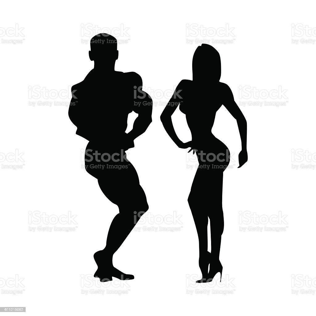 Women and men silhouettes of athletes. Two athletes together. Poses vector art illustration