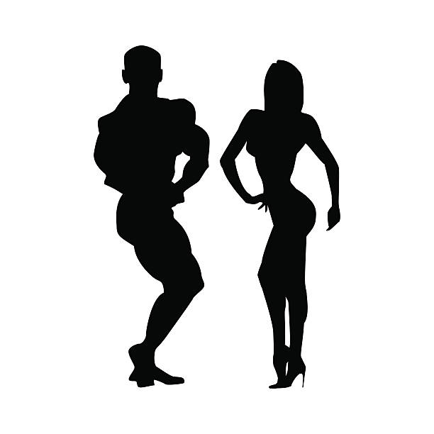 Women and men silhouettes of athletes. Two athletes together. Poses – Vektorgrafik