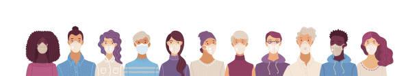 ilustrações de stock, clip art, desenhos animados e ícones de women and men wearing safety breathing masks - covid hair