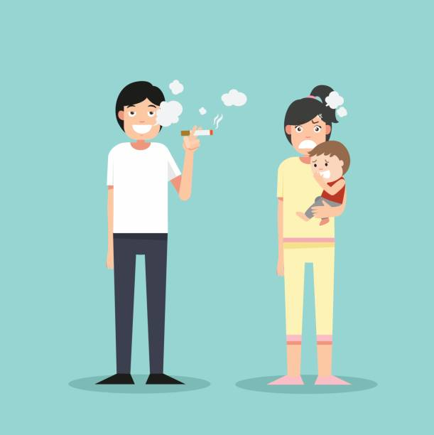 Women and young boy smelly cigarette.man smoking vector art illustration