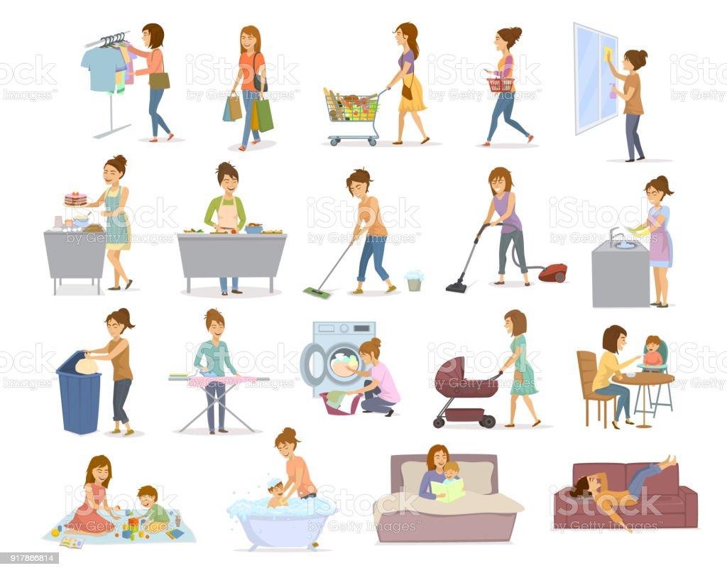 vrouwen zijn het doen van huishoudelijk werk, bereiden van voedsel koken bakken schoonmaken vloer windows afwas, maakt de Wasserij, ijzer, winkelen zorg voor kind, spelen leren lopen met kind, lezen van het boek uitgeput op de bank liggen na huis klusjes - Royalty-free Afval vectorkunst