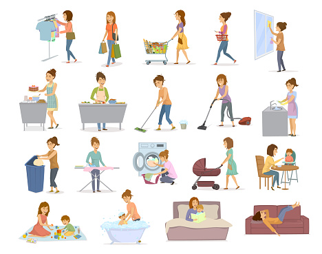 women are doing housework, preparing food cooking baking cleaning washing floor windows dishes, makes laundry, iron, shopping take care of child, play teach walk with kid, read the book, lying exhausted on sofa after home chores