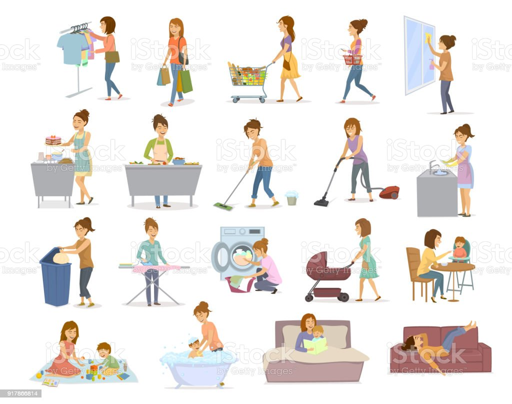 women are doing housework, preparing food cooking baking cleaning washing floor windows dishes, makes laundry, iron, shopping take care of child, play teach walk with kid, read the book, lying exhausted on sofa after home chores vector art illustration