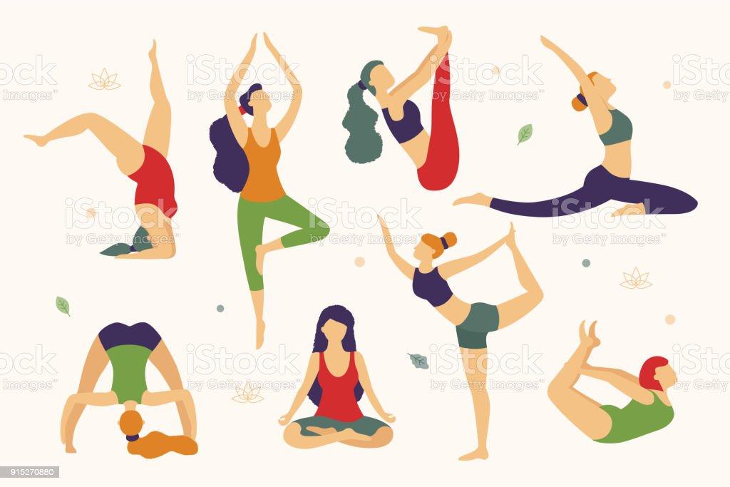 Las mujeres están haciendo yoga en diferentes poses vector ilustración  plana aislado sobre fondo blanco. 8a9d69387dd6