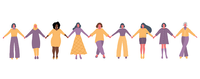 Women are holding hands. International Women's Day concept