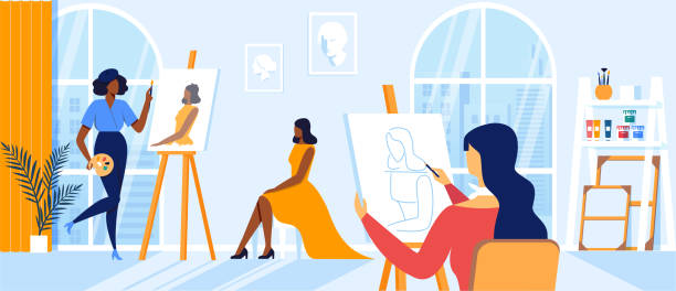 stockillustraties, clipart, cartoons en iconen met women artists tekenen op canvas tijdens art class - vrouw hobby