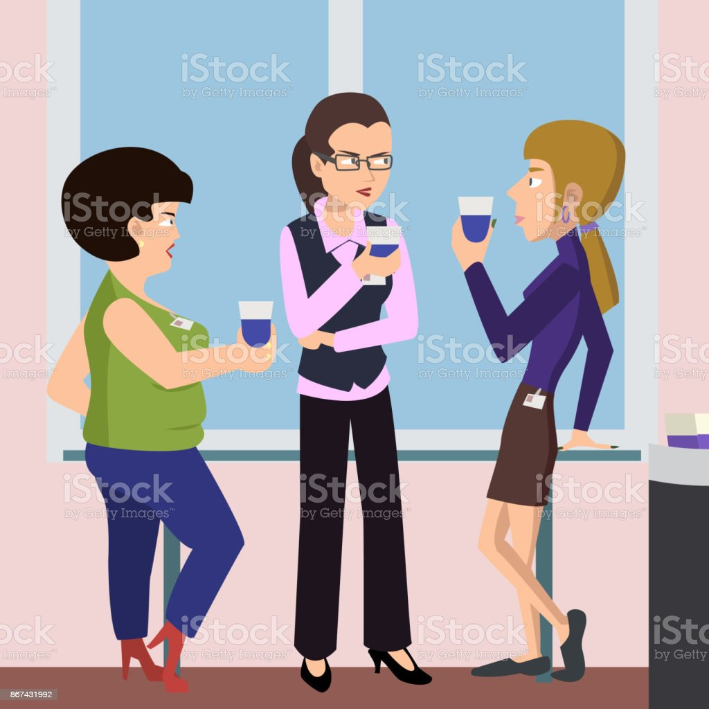 women at coffee break vector cartoon vector art illustration