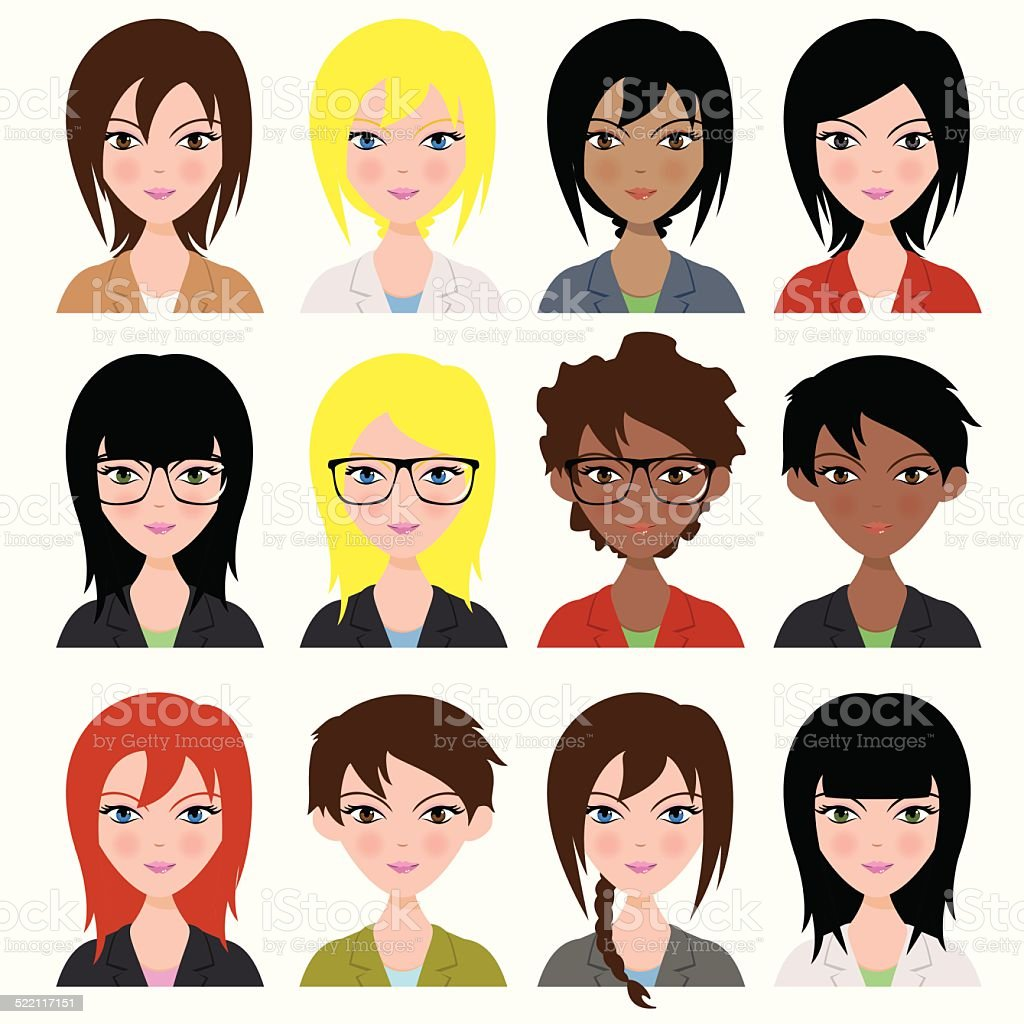 Women avatar vector art illustration