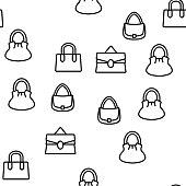 Women Bag Accessory Vector Seamless Pattern Thin Line Illustration