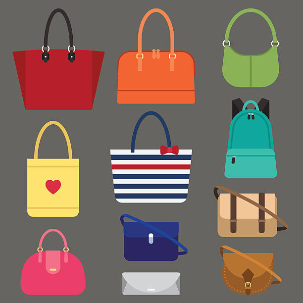 Women bags types Vector various types of woman bags. Flat style. bag stock illustrations