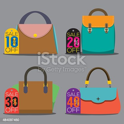Women Bags With Sale Tags Vector Illustration