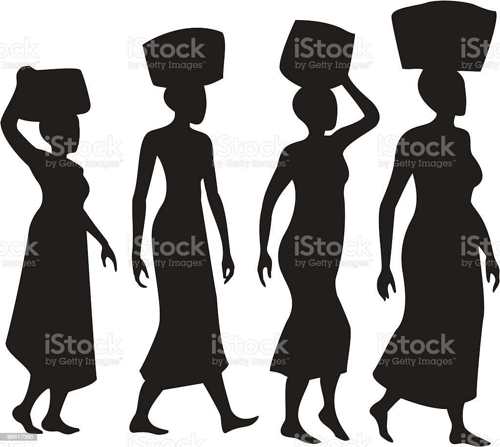 Women balancing baskets on heads Silhouettes royalty-free women balancing baskets on heads silhouettes stock illustration - download image now