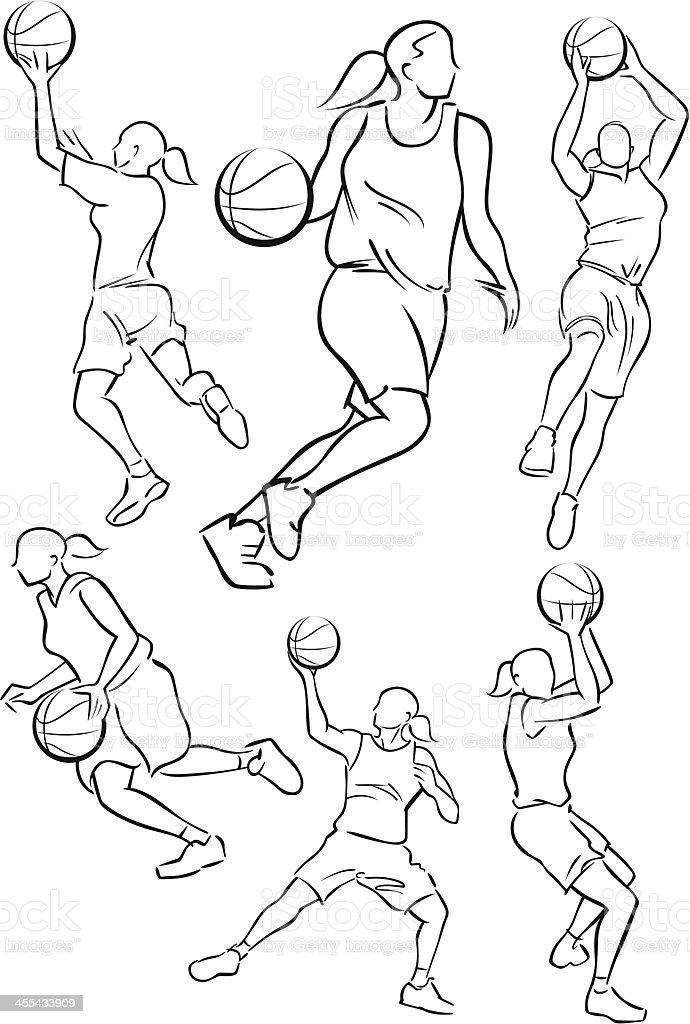 Women Basketball players vector art illustration