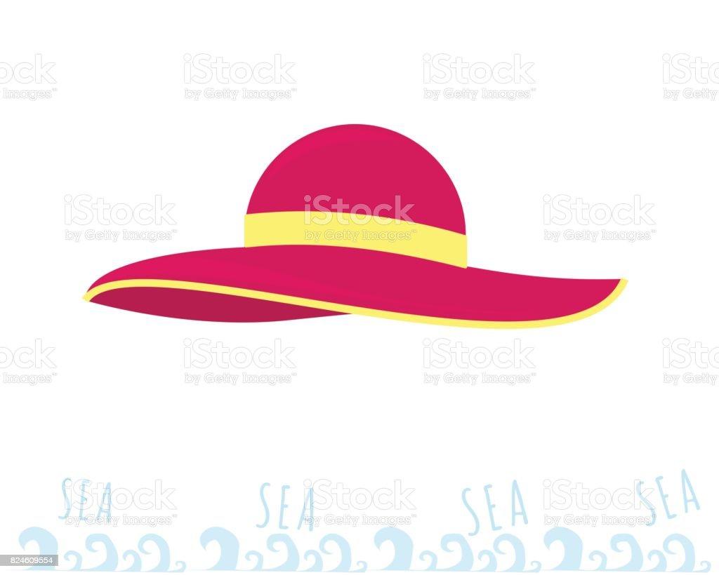 Women beach pink hat. Summer time. Rest on the sea. vector art illustration