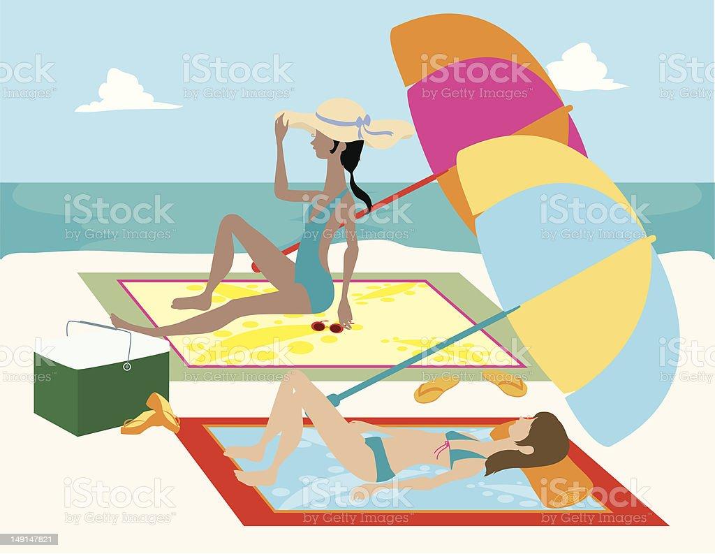 Women Beach Tanning vector art illustration