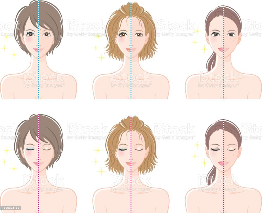Women, Before makeup and after makeup vector art illustration