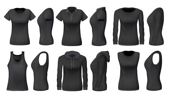 Women black tank top t-shirts, sportswear mockups