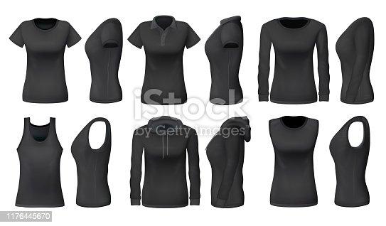 istock Women black tank top t-shirts, sportswear mockups 1176445670