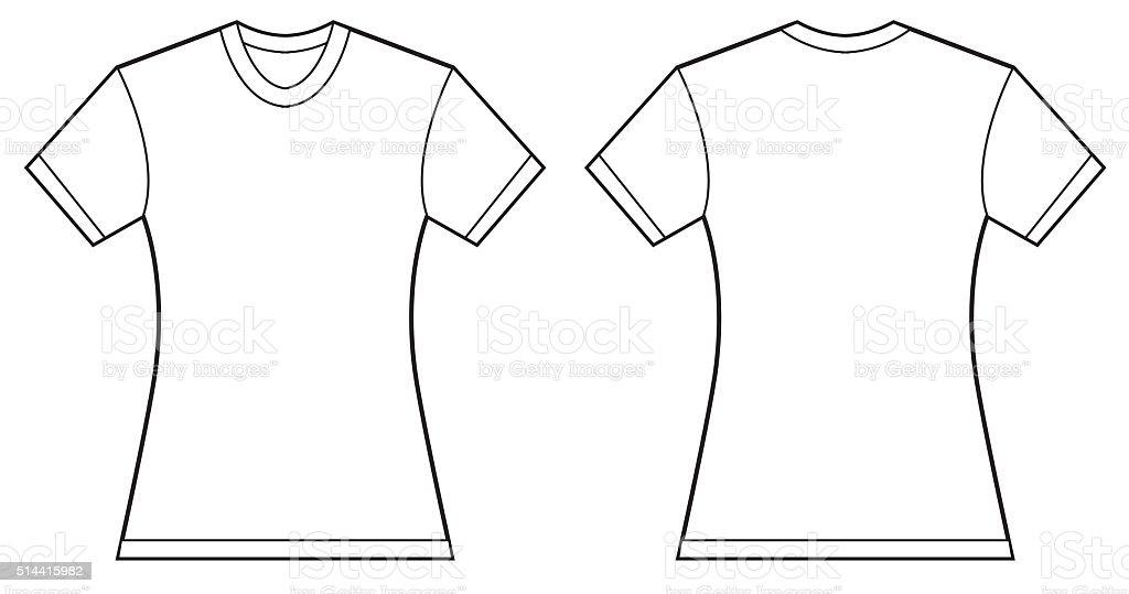 Mujer En Blanco Camiseta De Plantillas De Diseño - Arte vectorial de ...