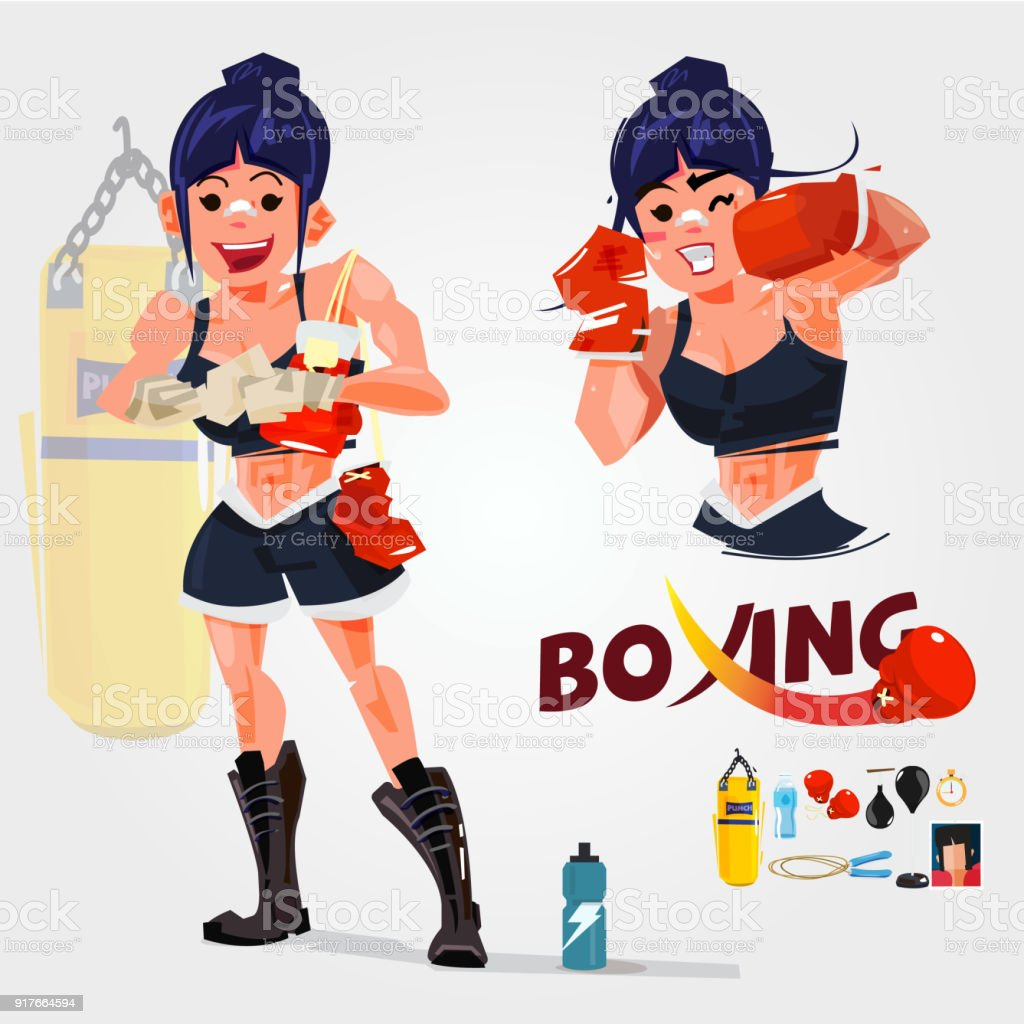 women boxer in actions. typogreaphic. character design with gym equipments - vector