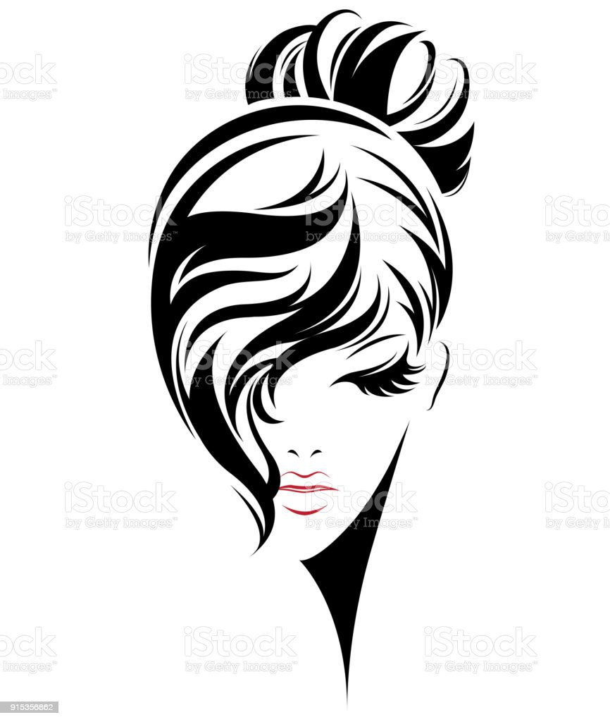 Wedding Hair Style Black Vector Art: Women Bun Hair Style Icon Icon Women On White Background