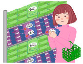 Women buying sanitary products