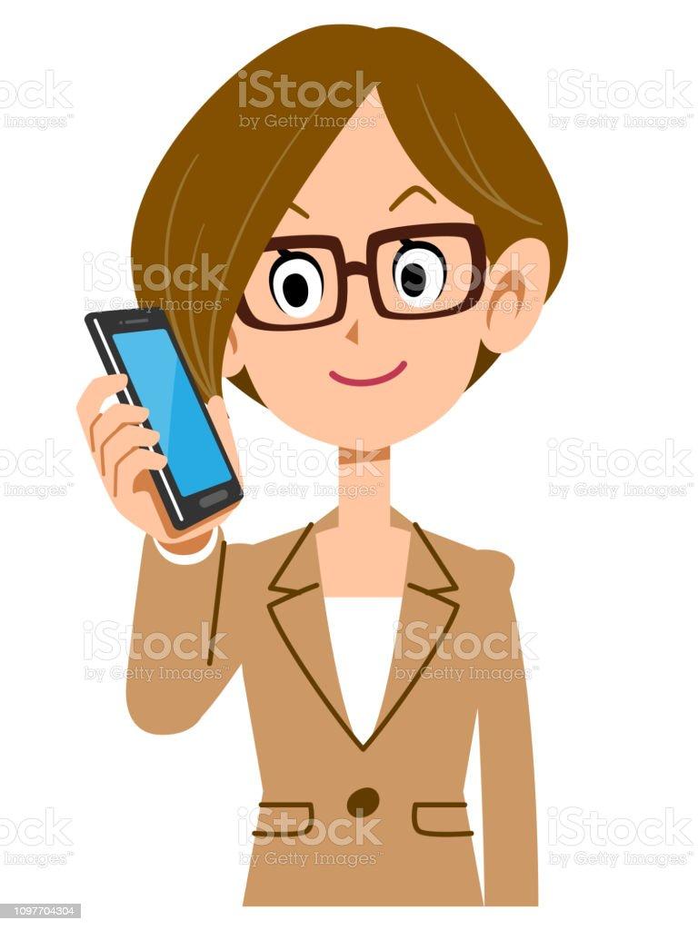 Women calling business woman suit eyeglasses upper body