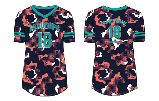 Women Camouflage Sports Jersey t-shirt design concept Illustration Vector suitable for girls and Ladies for Volleyball jersey, Football, badminton, Soccer, netball and tennis