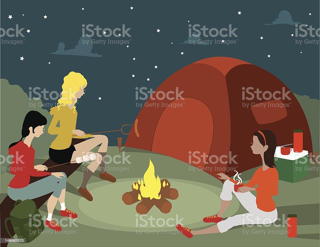 Women Camping royalty-free stock vector art