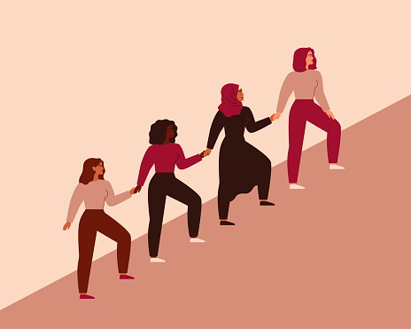 Women can do it. Four female characters walk up together and hold arms. Girls support each other. Friendship poster, the union of feminists and sisterhood.