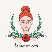 Women can, Hand drawn illustration. Red bun hair young girl in floral wreath. Square banner or cover about feminism. Feminist greeting card. Poster for International Women's Day. 8 March Idea