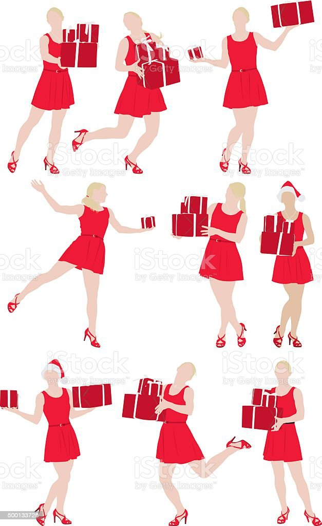 Women carrying gift boxes vector art illustration