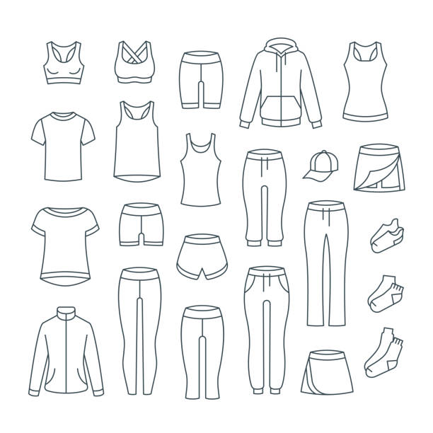 체육관 피트 니스 훈련에 대 한 여성 캐주얼 의류 - 바지 의복 stock illustrations